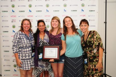 "In 2015, Startup Weekend Maui 3rd place winner, the team of Waikapu Pickles, planned to bring ""Pickles for the People!"" Pictured from left: Kim Scott, Tammie Evangelista-Mcguire, Victoria Alexa Scott, Jen Fordyce, and Elizabeth Smith."